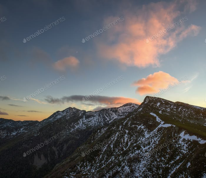 Golden clouds over the mountains