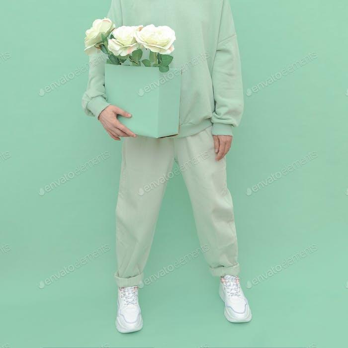 Fashion Mint casual outfit. Minimal aesthetic monochrome design. Aqua menthe color trend