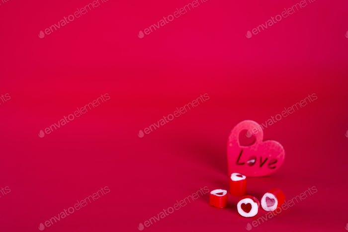 Red heart-shaped candy