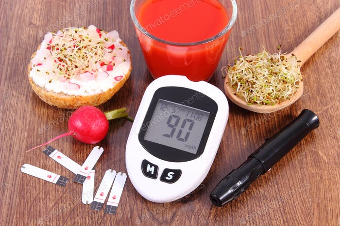 Glucose meter with accessories for diabetic and healthy food and drink