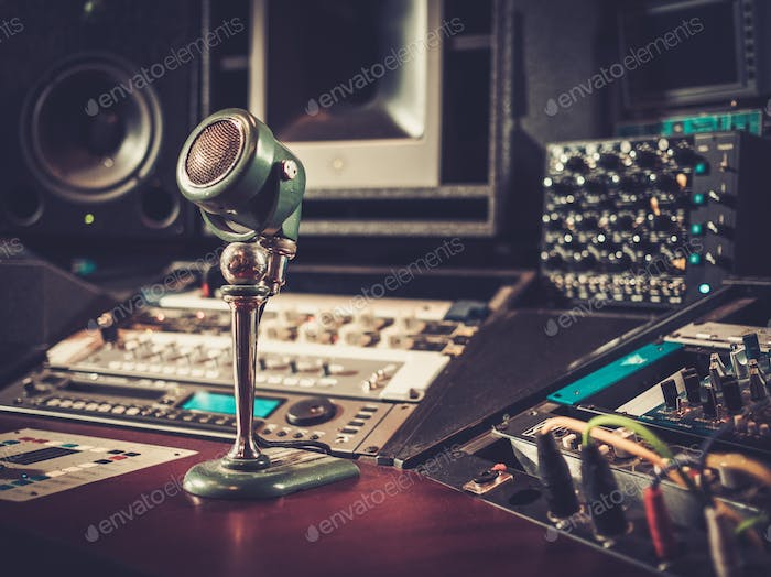 Close-up of boutique recording studio control desk.