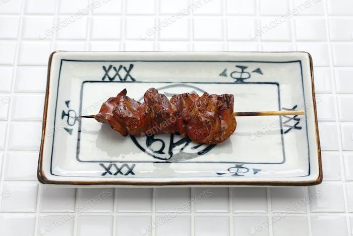 yakitori, chicken liver, japanese grilled chicken skewers