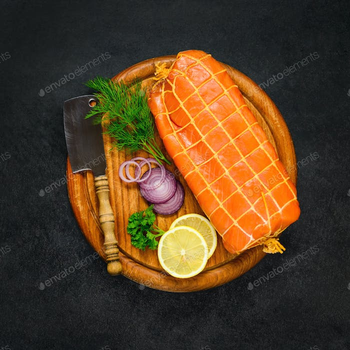 Smoked Red Fish with Lemon and Cooking Ingredients