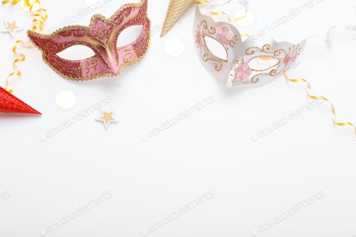 Carnival masks and confetti