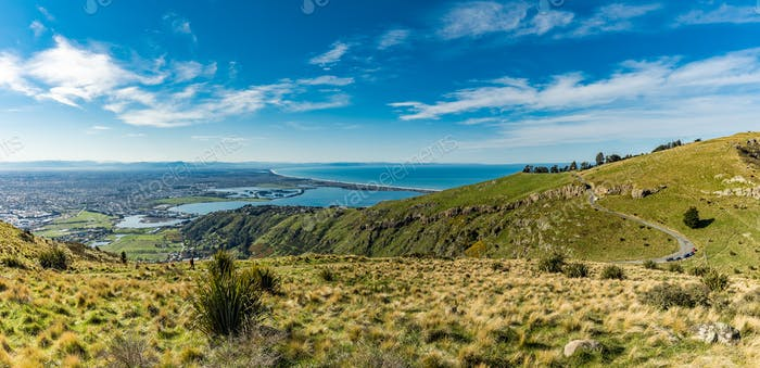 Christchurch Gondola and the Lyttelton port from Port Hills in N