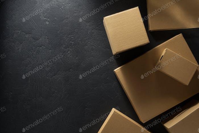 cardboard box  on  black