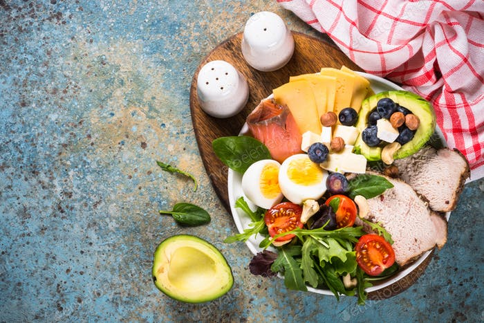 Keto diet plate on white table