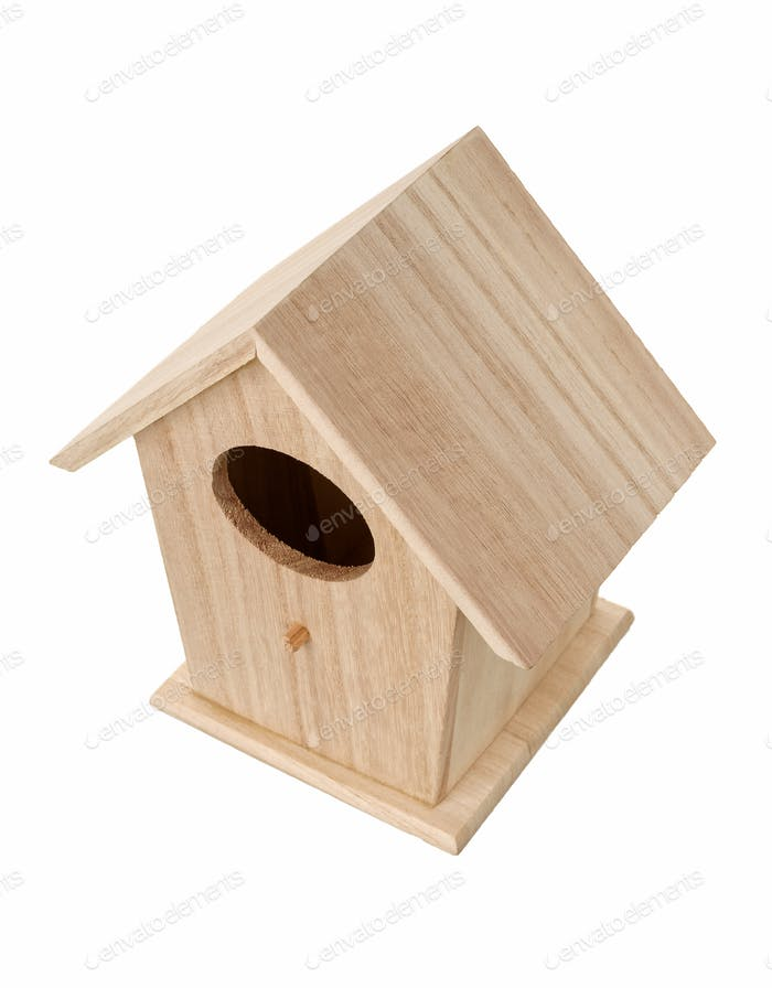 Wooden bird nesting box