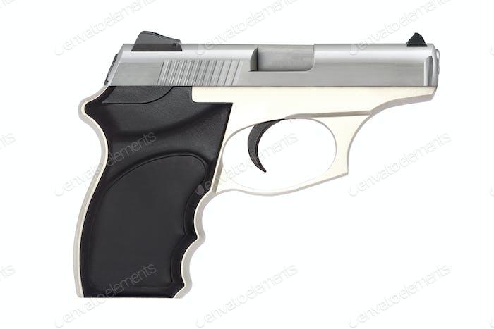 automatische Pistolenpistole Schusswaffe für Sport oder persönlichen Schutz oder Verteidigung isoliert auf weiß