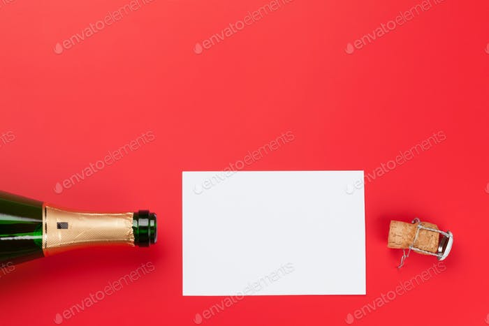 Christmas greeting card with champagne