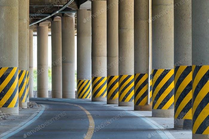 Bottom of highway road bridge