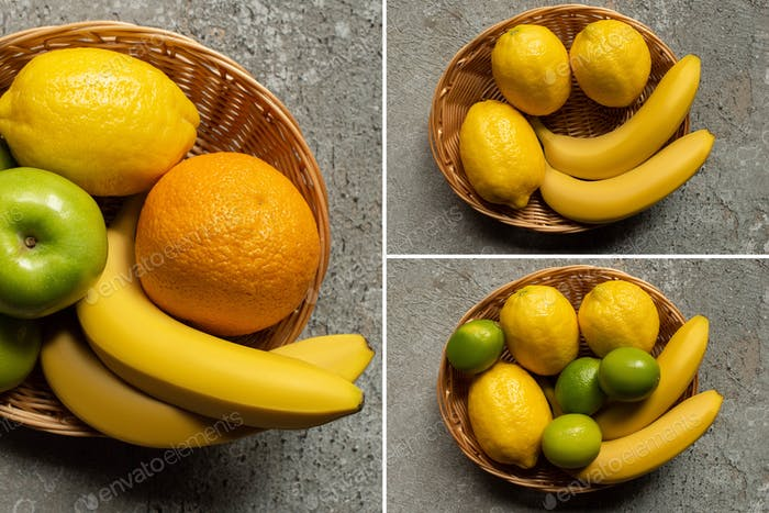 Collage of Colorful Fruits in Wicker Basket on Grey Concrete Surface