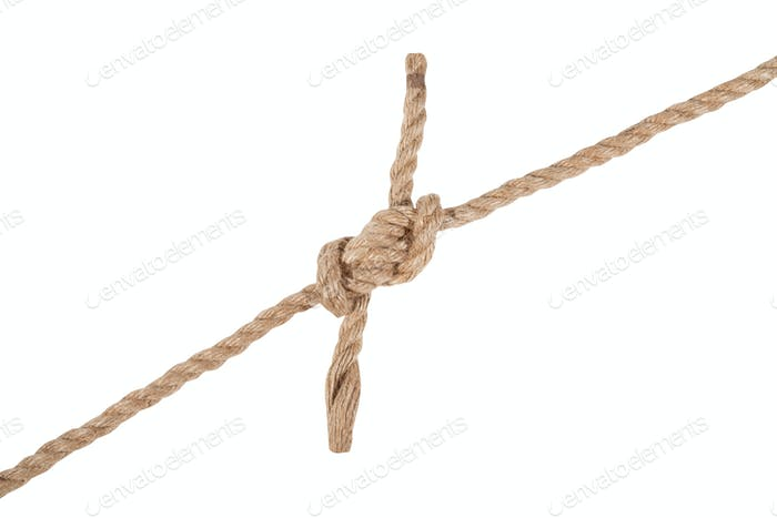 another side of hunter's bend knot joining ropes