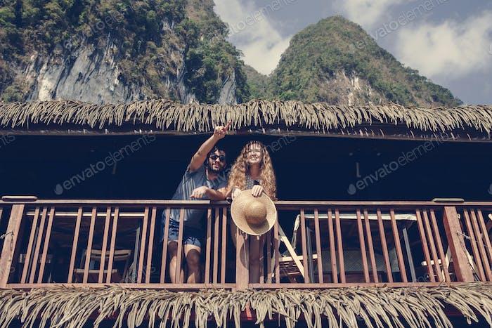 Couple on a honeymoon trip