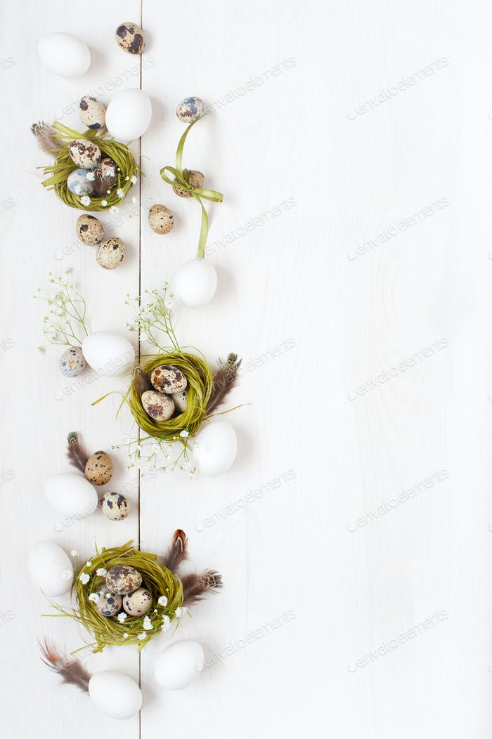 Festive Easter Table with Decoration, White Background