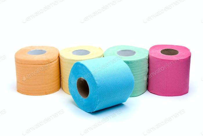 Unterschiedliche farbige Toilettenpapier