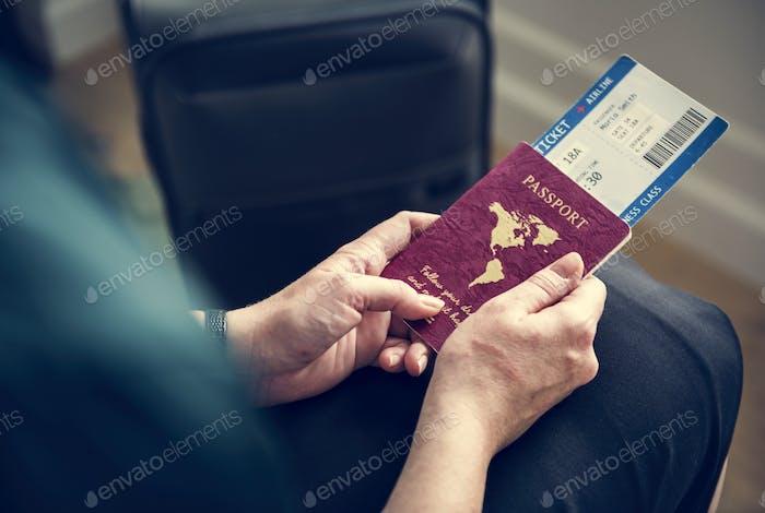 A man preparing to travel