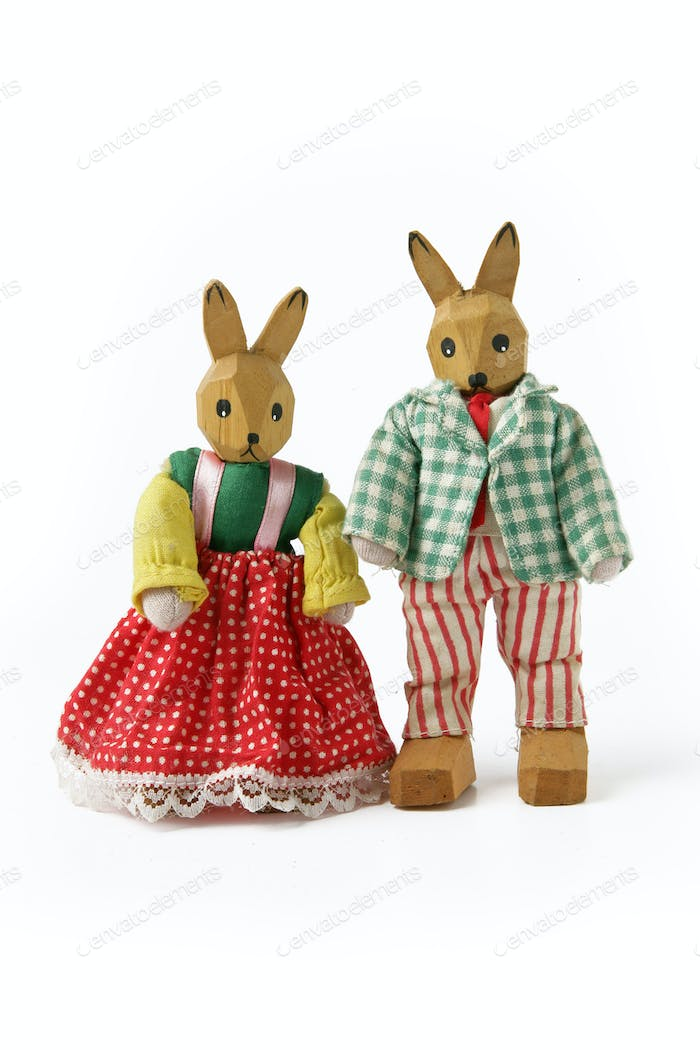 Couple of wooden rabbit toys