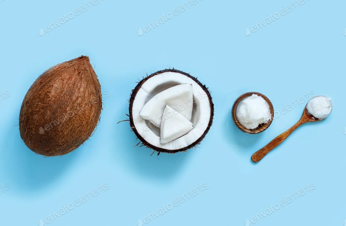 Coconut oil in a bowl with a spoon