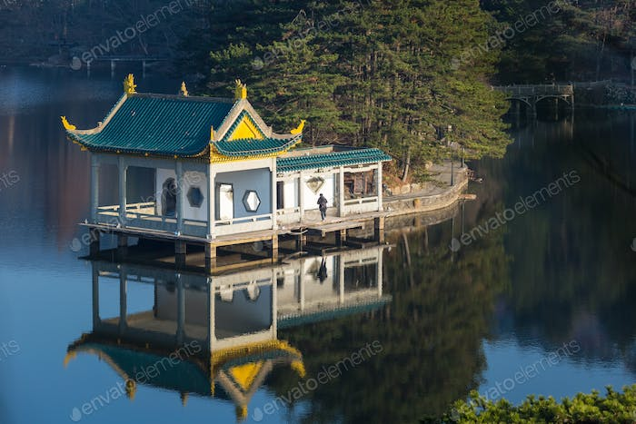 traditional pavilion at dusk on lushan mountain