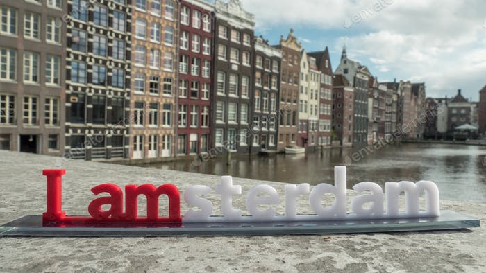 Timelapse of city and I amsterdam slogan