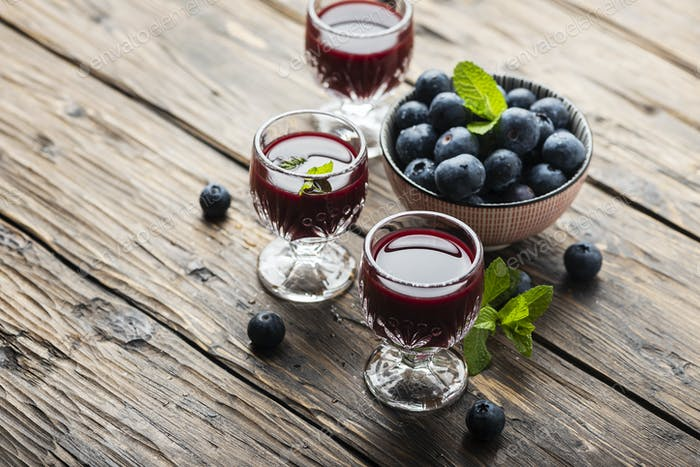 Sweet blueberry liqueur