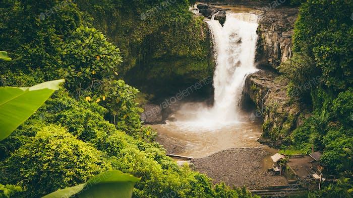 Overlook to amazing Tegenungan Waterfall. Ubud in Bali, Indonesia