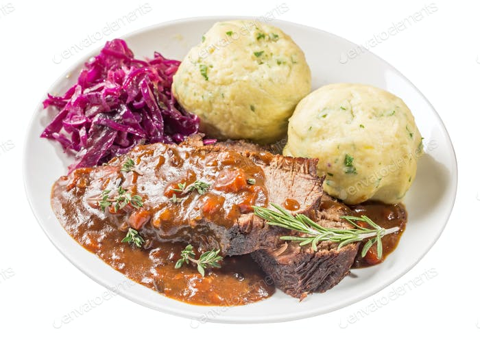 Sauerbraten on plate isolated