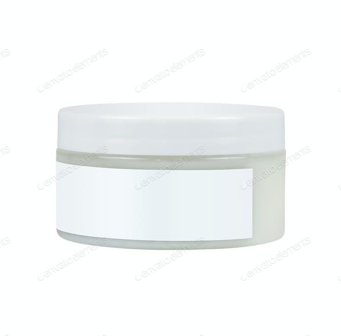 Cremebehälter auf weißem Hintergrund