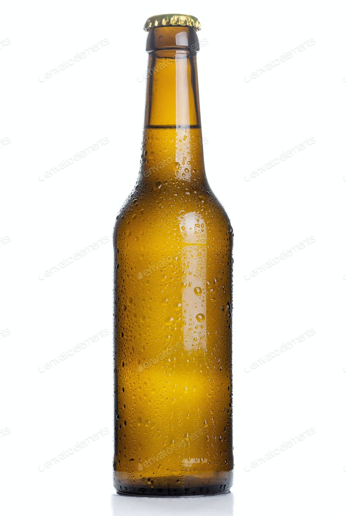 brown beer bottle with drops isolated on white background