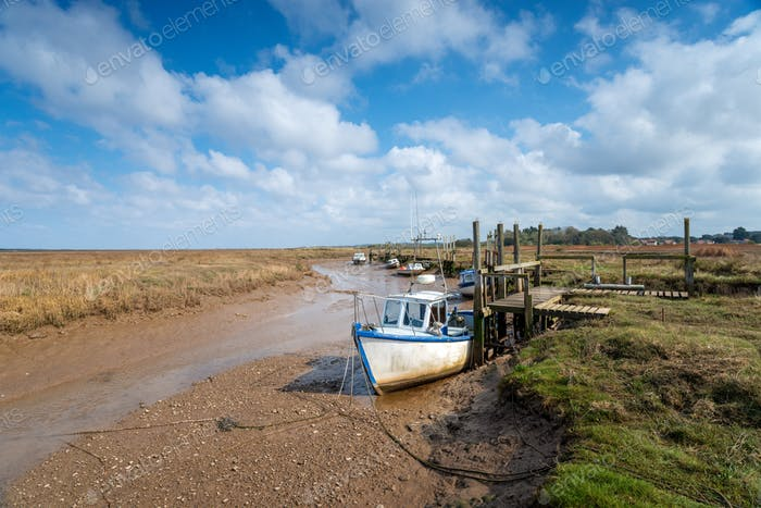 Fishing boats mored on the salt marsh at Thornham