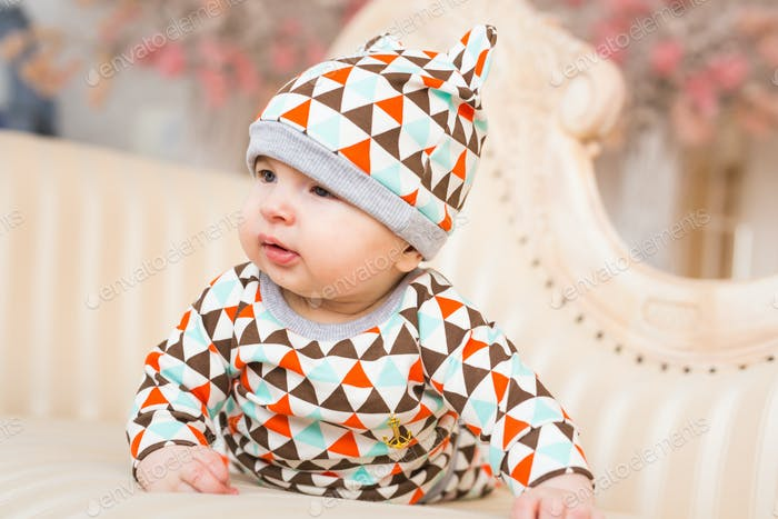 Adorable Caucasian baby. Portrait of a three months old baby boy