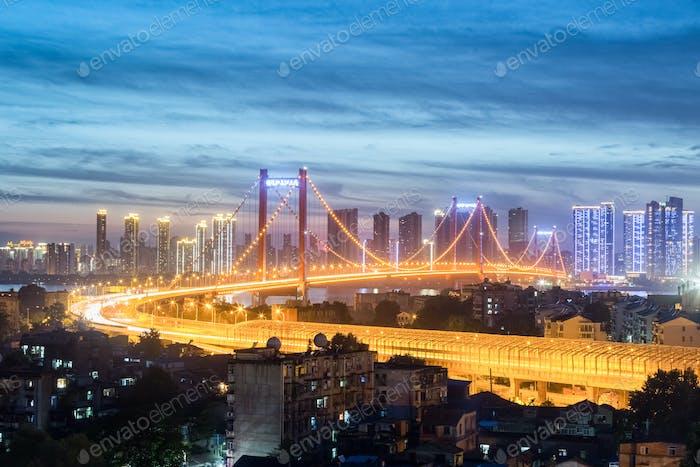 wuhan suspension bridge in nightfall
