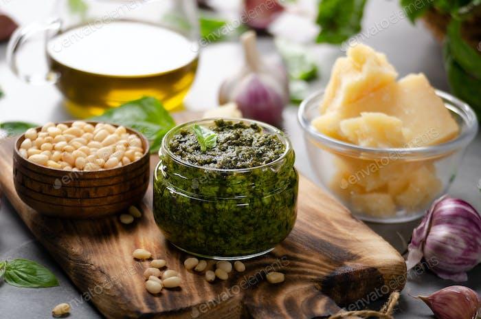 Glass jar with genovese pesto sauce