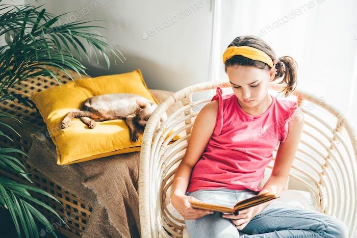 Schulmädchen lesen Buch in einem bequemen Stuhl, während die Katze schläft.