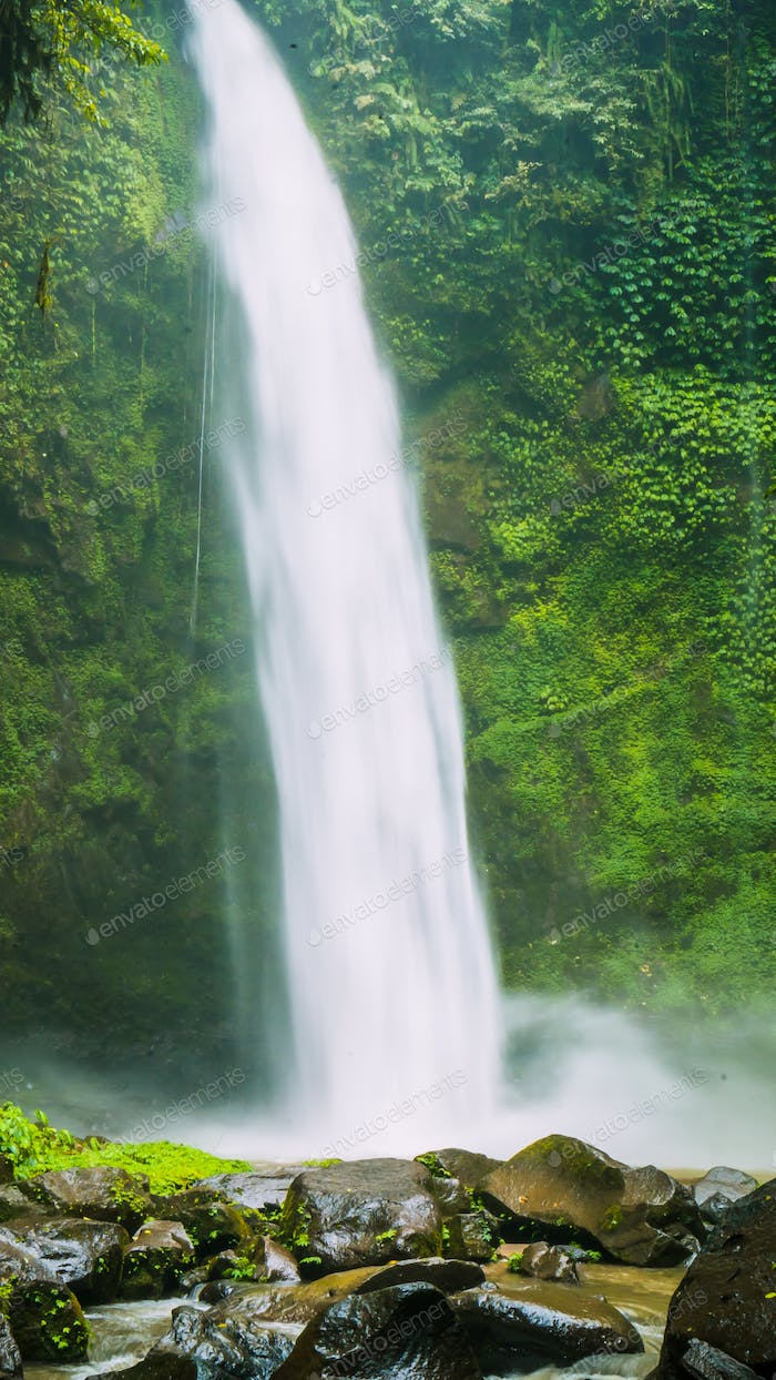 Amazing Nungnung waterfall close up, Bali, Indonesia