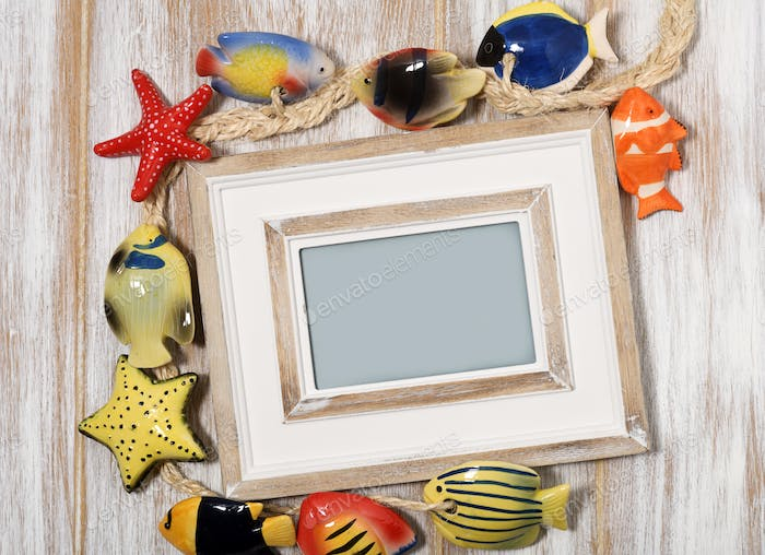 Picture frame with decorative fishes