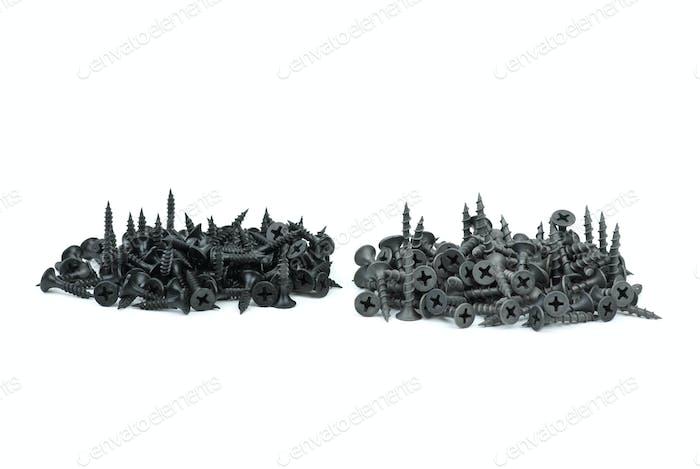 Piles of wood and metal screws