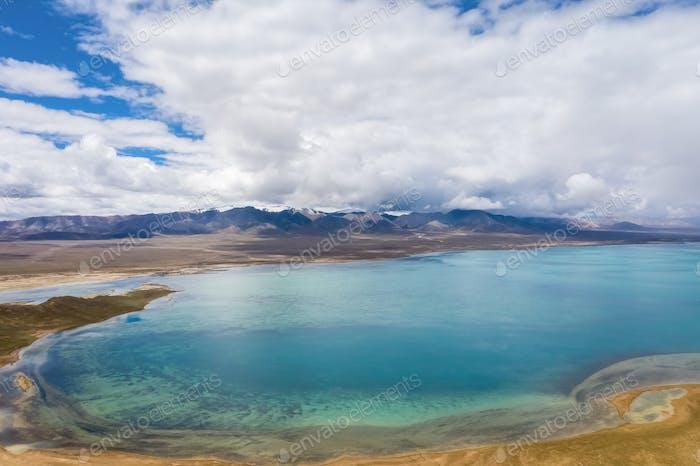 aerial view of plateau lake