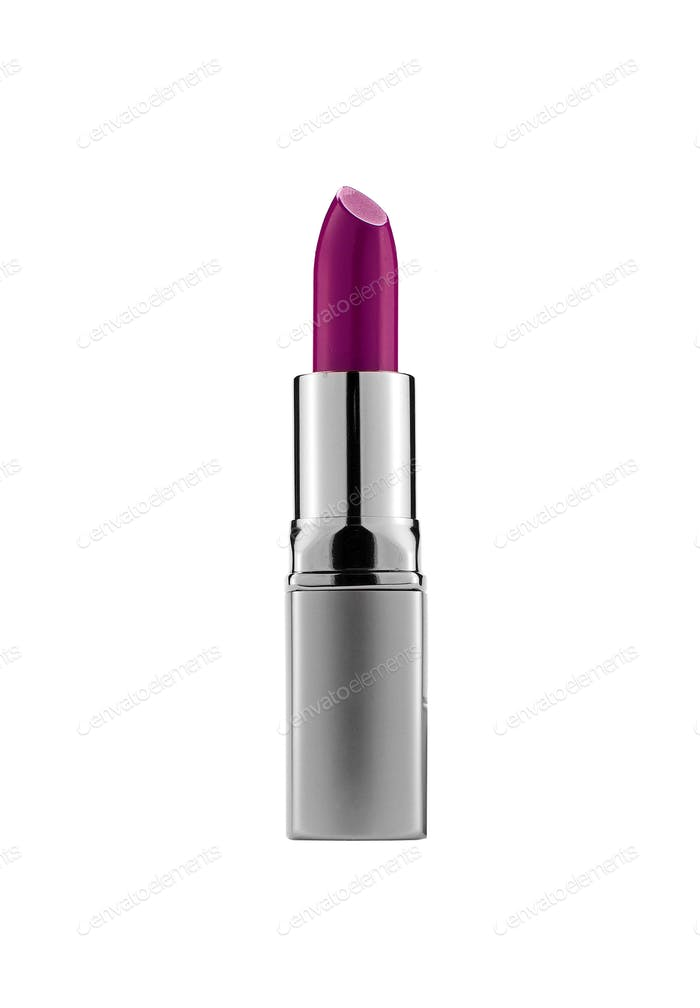 purple lipstick isolated on white