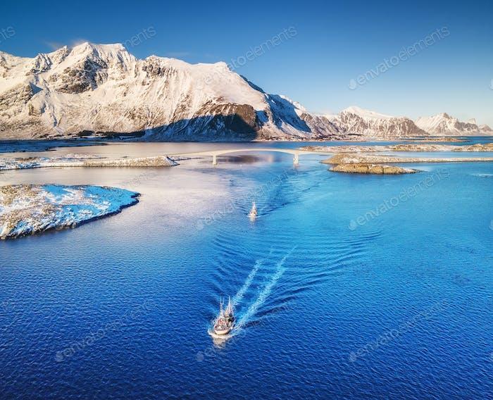 Boat on the Lofoten Islands, Norway. Aerial landscape