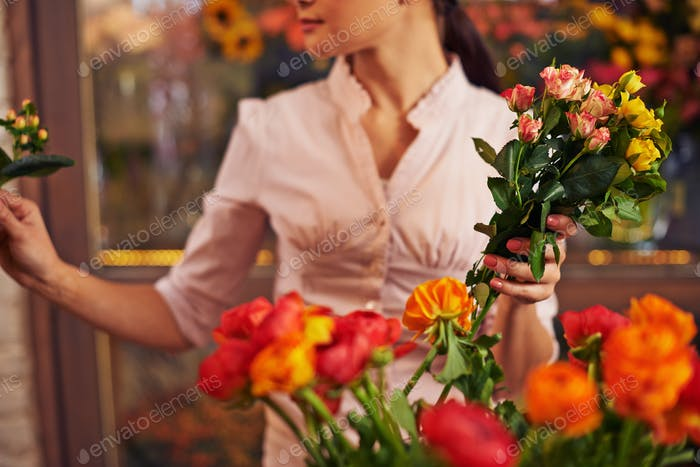 Woman with fresh flowers