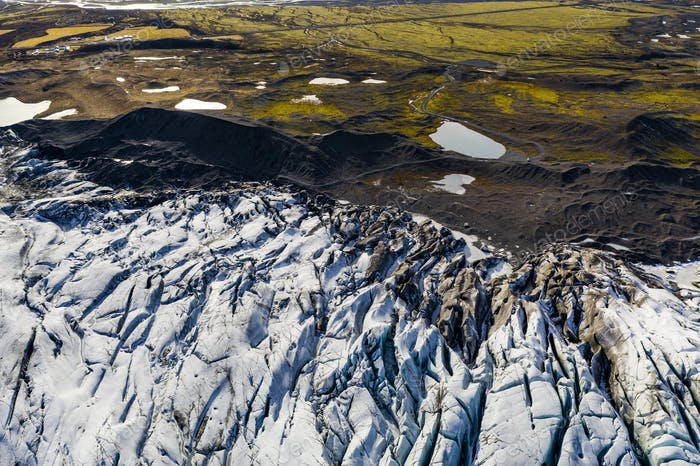 Svinafellsjokull glacier in Iceland at sunset. Aerial view