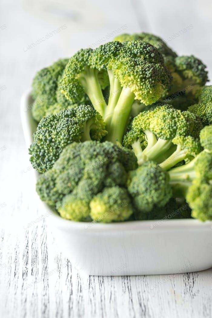 Fresh broccoli on the white bowl