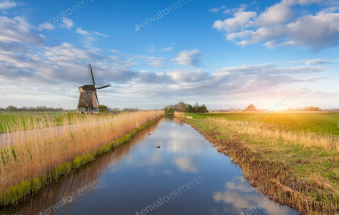 Windmills at sunrise. Rustic landscape