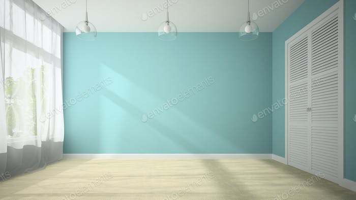Empty Room With Blue Wall 3d Rendering PHGMPKA on New Home Interior Design Trends