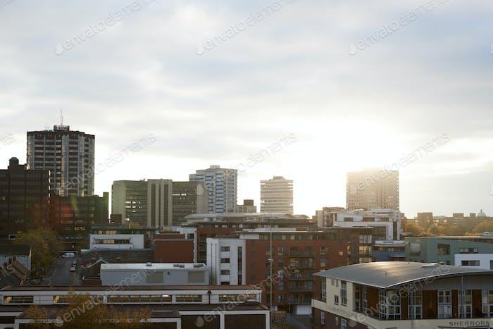 Birmingham, UK - 6 November 2016: Birmingham City Skyline At Sunset