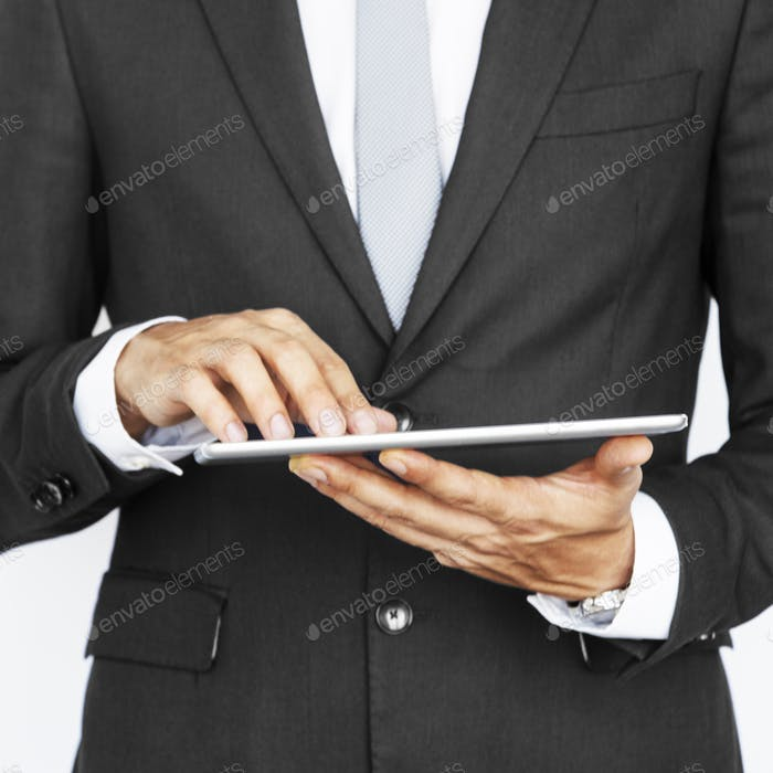 Cropped Business Guy Using Tablet Concept