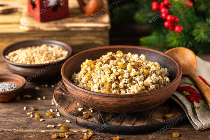 Kutia. Traditional ukrainian Christmas ceremonial grain dish with honey, raisins and poppy seeds