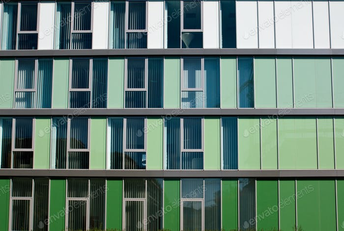 Modern facade in different shades of green